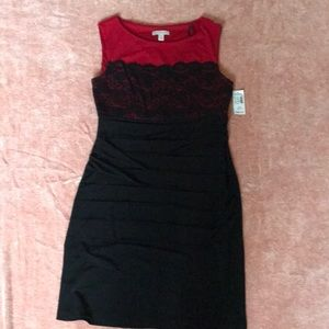 Red Black lace bodice dress. Very flattering. NWT